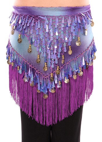 Chiffon Tie-Dye Triangle Hip Scarf with Teardrop Paillettes, Fringe, & Coins - PURPLE