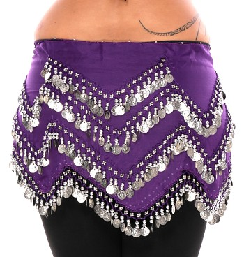 1X - 4X Plus Size Long Belly Dance Zig-Zag Coin Hip Scarf Skirt - PURPLE GRAPE / SILVER