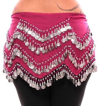 1X - 4X Plus Size Long Belly Dance Zig-Zag Coin Hip Scarf Skirt - ROSE PINK / SILVER