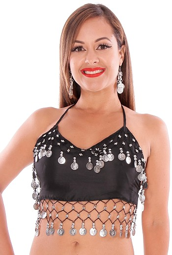 Chiffon Belly Dance Costume Top with Coins - BLACK / SILVER
