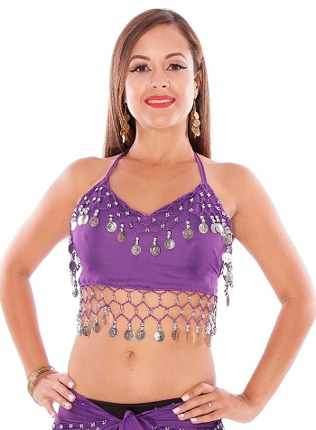 Chiffon Belly Dance Costume Top with Coins - PURPLE GRAPE / SILVER