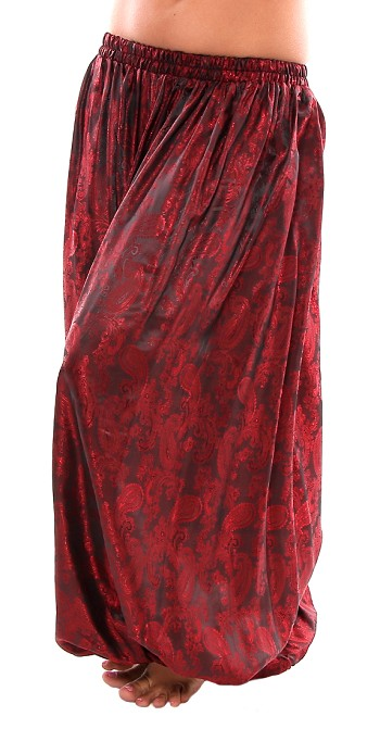 Brocade Full Pantaloons Tribal Harem Pants - RED / BLACK