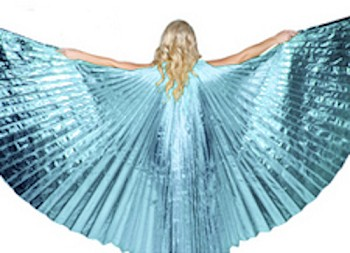 Closed Back Isis Wings Belly Dance Costume Prop - LIGHT ICE BLUE