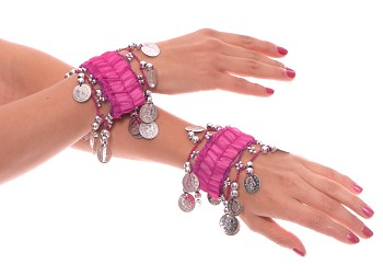 Chiffon Stretch Bracelets with Beads & Coins (PAIR): FUCHSIA / SILVER