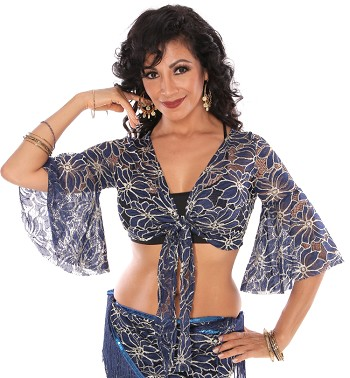 2-Tone Lace Bell Sleeve Choli Top - BLUE