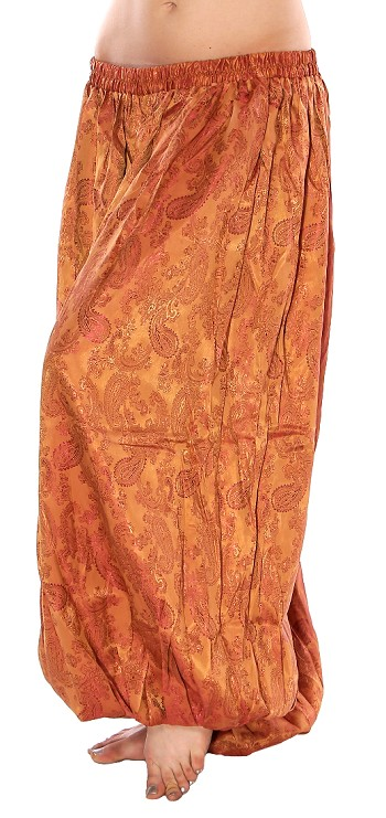 Brocade Full Pantaloons Tribal Harem Pants - GOLD / BURGUNDY