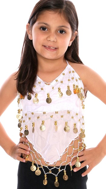 Little Girl's Chiffon Belly Dance Costume Halter Top with Coins - WHITE / GOLD