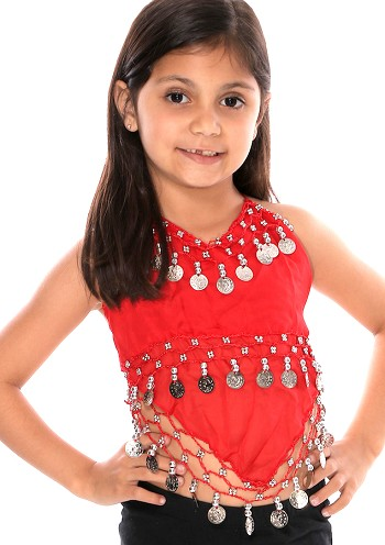 Little Girl's Chiffon Belly Dance Costume Halter Top with Coins - RED / SILVER