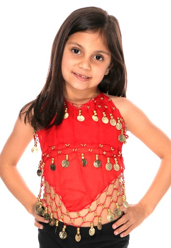 Little Girl's Chiffon Belly Dance Costume Halter Top with Coins - RED / GOLD