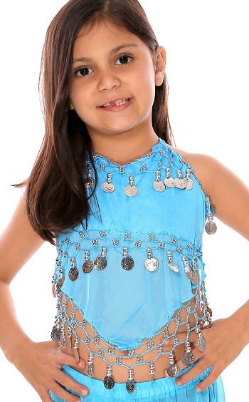 Little Girl's Chiffon Belly Dance Costume Halter Top with Coins - BLUE TURQUOISE / SILVER