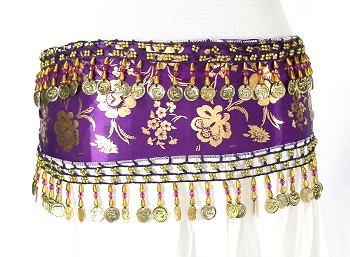 CAIRO COLLECTION: Metallic Print Belly Dance Hip Scarf / Sash with Beads & Coins - PURPLE PLUM / GOLD