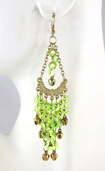 Sequin Chandelier Earrings with Bells - LIME / GOLD