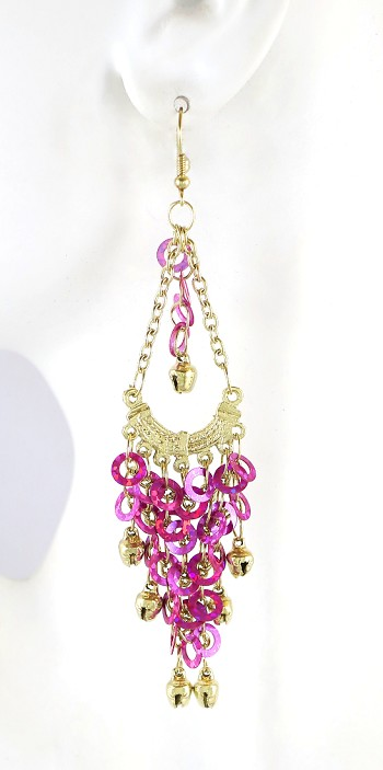 Sequin Chandelier Earrings with Bells - FUCHSIA / GOLD