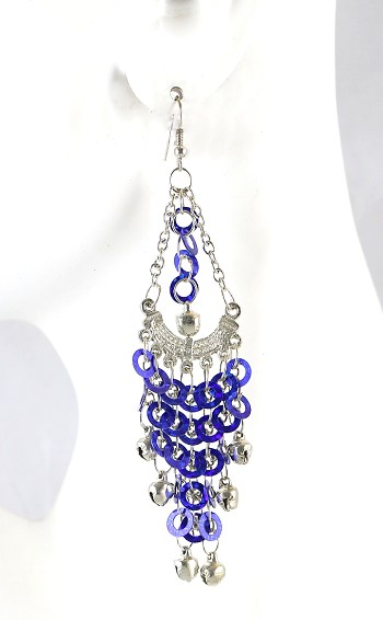 Sequin Chandelier Earrings with Bells - SAPPHIRE BLUE / SILVER