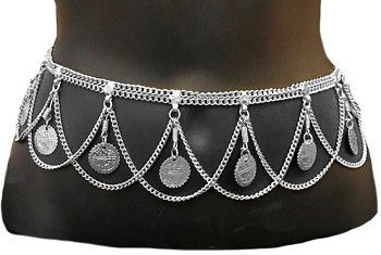 Belly Dance Costume Coin Fashion Belt With Chain Swags - SILVER