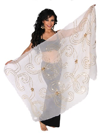Petite Belly Dance Veil with Floral Sequin Design - WHITE / GOLD