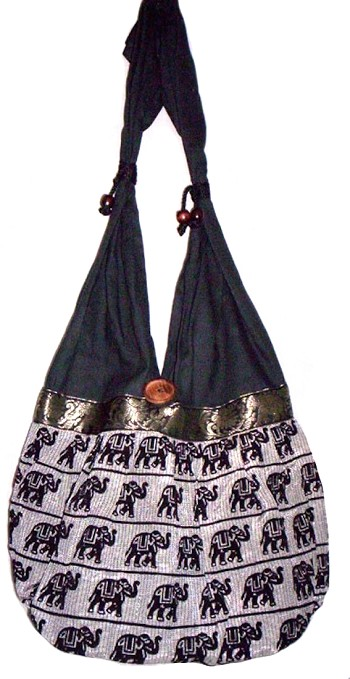Textured Cotton Canvas Dance Bag Tote with Elephant Design
