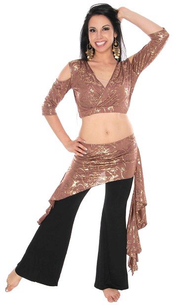 2-Piece Metallic Belly Dance Fusion Choli and Overskirt Set - MOCHA / GOLD