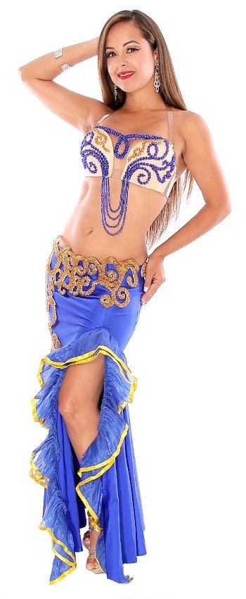CAIRO COLLECTION: Professional Egyptian Belly Dance Costume From Egypt - ROYAL BLUE