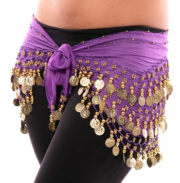 Chiffon Belly Dance Hip Scarf with Beads & Coins - PURPLE / GOLD