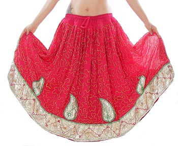 Lehenga Embroidered Tribal and Fusion Paisley Skirt - ROSE / IVORY / GREEN