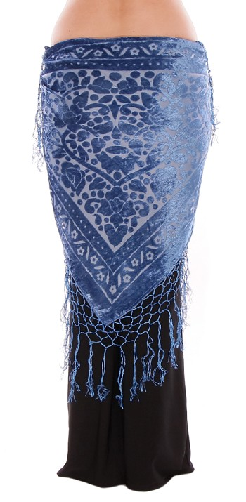 Floral Pattern Burnout Velvet Shawl Hip Scarf with Fringe - FRENCH BLUE