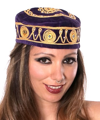Embroidered Traditional Turkish Style Smoking Hat with Gold Accents - DARK PURPLE
