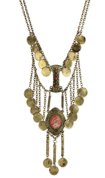 Vintage Style Medallion and Chain Necklace with Faux Coins - CORAL / GOLD