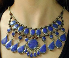 Deluxe Afghani Tribal Teardrop Lapis Necklace - BLUE