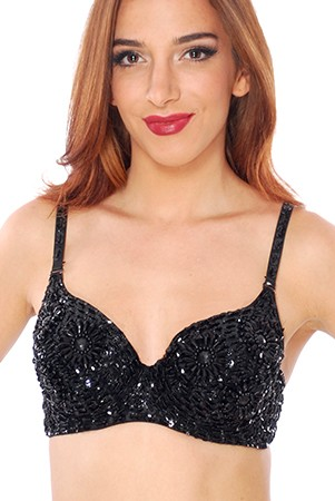 Sequin Belly Dance Costume Bra with Beaded Floral Design - BLACK