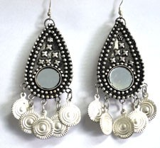 Classic Belly Dance or Tribal Coin Earrings with Mirror Accents - SILVER