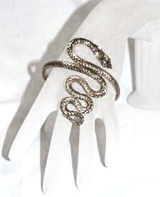 Twisted Serpent Snake Armband Upper Arm Bracelet  - SILVER