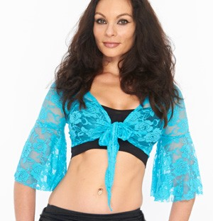 Lace Bell Sleeve Choli Belly Dance Top - TURQUOISE BLUE