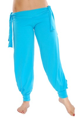 Comfortable Stretch Harem Pants with Side Ties & Slits - BLUE TURQUOISE