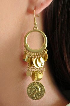 Classic Belly Dance Costume Coin Earrings - GOLD