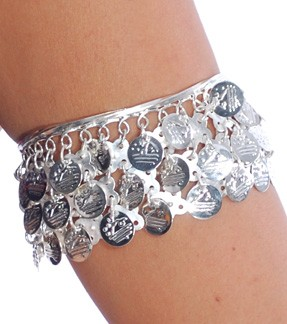 Metal Belly Dance Costume Armband Bracelet with Coins - SILVER