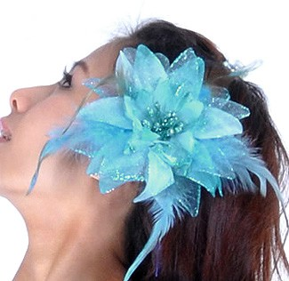 Hair Flower with Feather Accents - LT. TURQUOISE