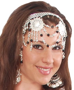 Belly Dance Headband Headpiece with Beads & Swags - SILVER / BLACK