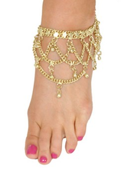Arabesque Belly Dance Anklet with Chain Loops & Ghungroo Bells - GOLD