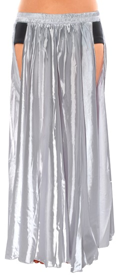 Satin Panel Circle Skirt for Belly Dancing - SILVER
