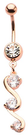 Rose Gold & Crystals Swirl Dangle Belly Ring