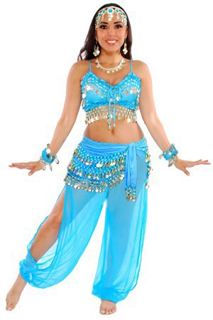 6-Piece Harem Genie Belly Dancer Costume - JASMINE BLUE / SILVER