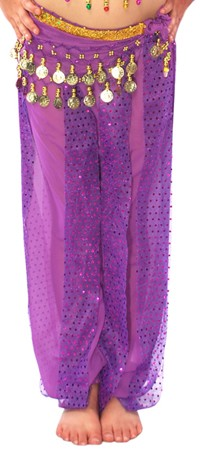 KIDS Harem Pants with Sparkle Dot Panels - PURPLE