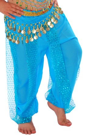 KIDS Harem Pants with Sparkle Dot Panels - TURQUOISE
