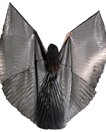 Closed Back Isis Wings Belly Dance Costume Prop - STEEL GREY