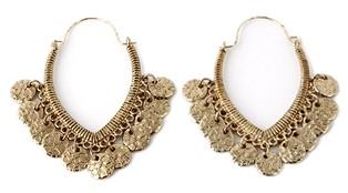 Arabesque Hoops Coin Fashion Earrings - ANTIQUE GOLD