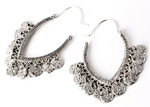 Coin Fashion Earrings - ANTIQUE SILVER