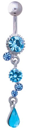 Caribbean Dream Rhinestone Barbell Belly Ring - AQUA TURQUOISE / SILVER