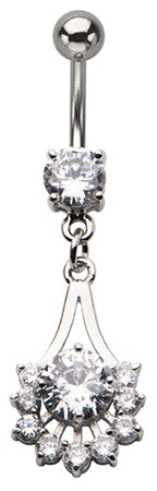 Crystal Icicles Rhinestone Dangle Belly Ring
