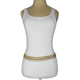 Metal Belly Dance Belt With Chain Swags and Bells - GOLD